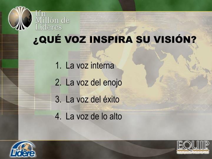 ¿QUÉ VOZ INSPIRA SU VISIÓN?