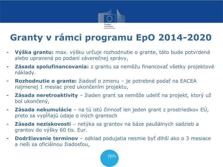 Granty v rámci programu EpO 2014-2020