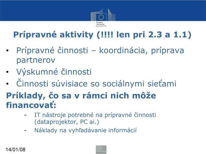 Prípravné aktivity (!!!! len pri 2.3 a 1.1)