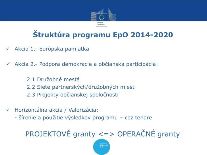 Štruktúra programu EpO 2014-2020