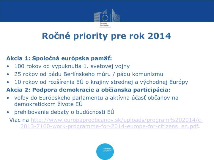 Ročné priority pre rok 2014