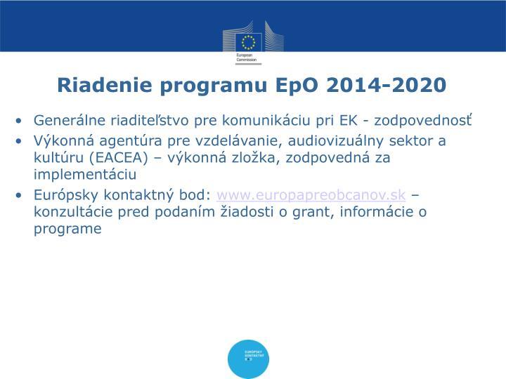 Riadenie programu EpO 2014-2020