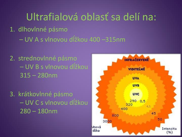 Ultrafialová oblasť sa delí na: