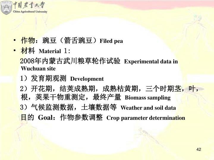 作物:豌豆(箭舌豌豆)