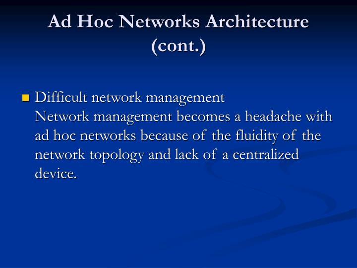 Ad Hoc Networks Architecture (cont.)