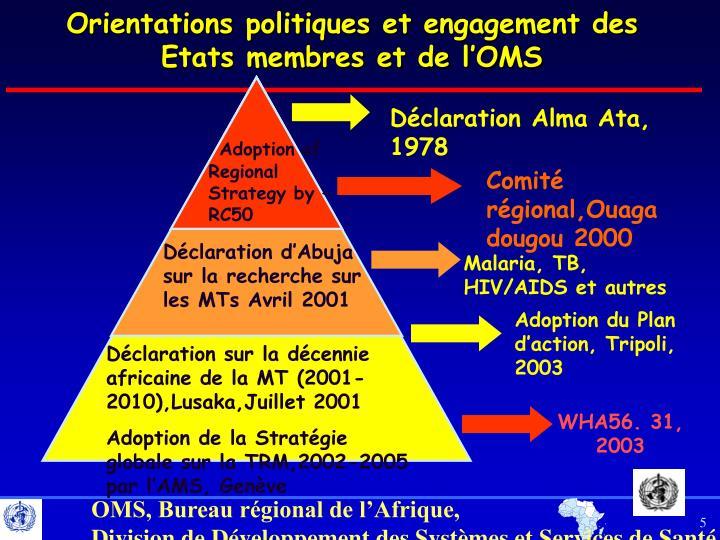Orientations politiques et engagement des Etats membres et de l'OMS