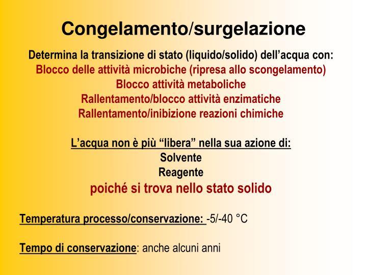 Congelamento/surgelazione