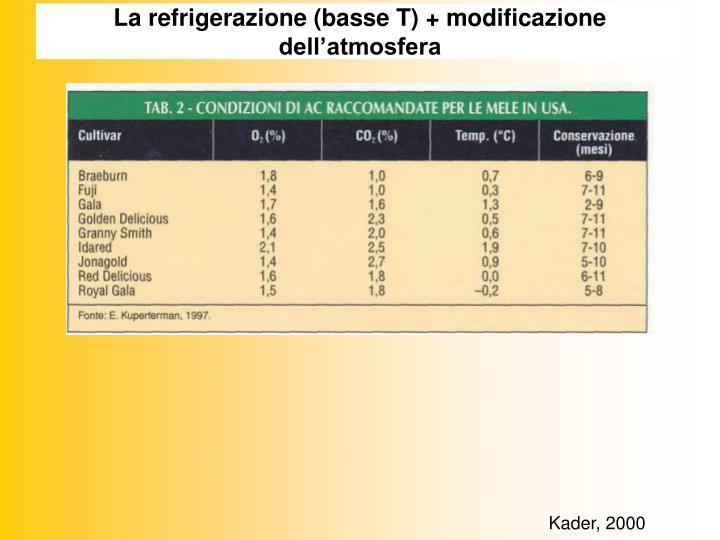 La refrigerazione (basse T) + modificazione dell'atmosfera