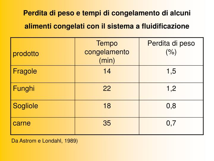 Perdita di peso e tempi di congelamento di alcuni alimenti congelati con il sistema a fluidificazione
