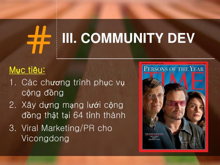 III. COMMUNITY DEV