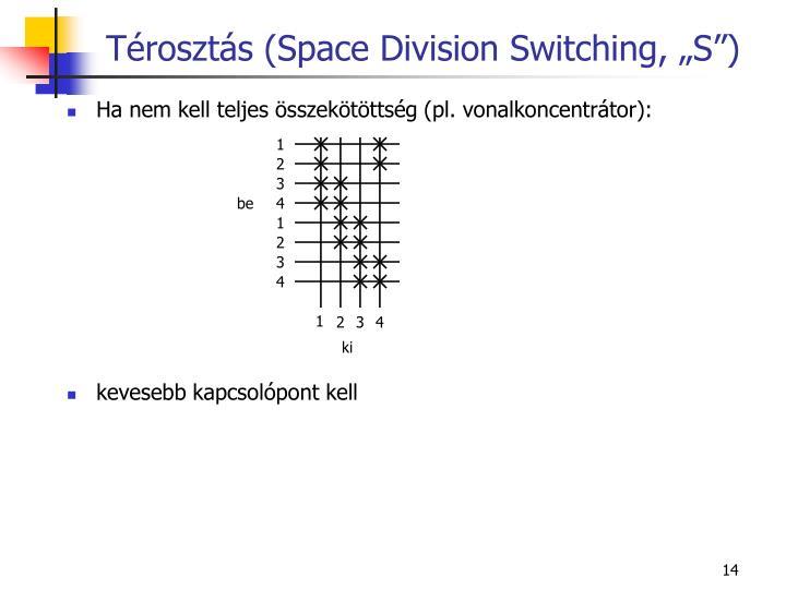 """Térosztás (Space Division Switching, """"S"""")"""