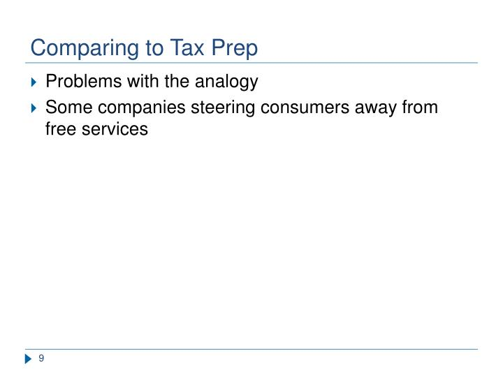 Comparing to Tax Prep