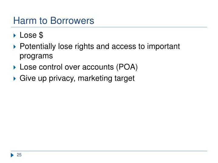 Harm to Borrowers