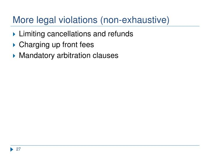 More legal violations (non-exhaustive)