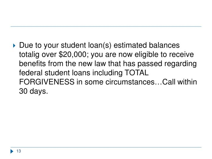 Due to your student loan(s) estimated balances