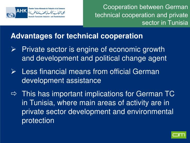 Cooperation between German technical cooperation and private sector in Tunisia