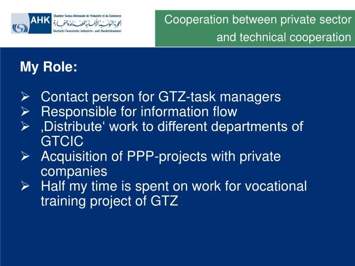 Cooperation between private sector and technical cooperation