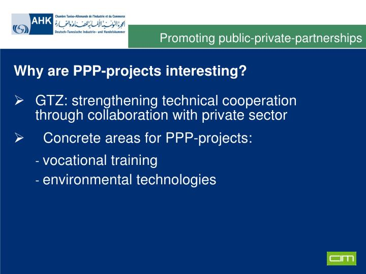Promoting public-private-partnerships