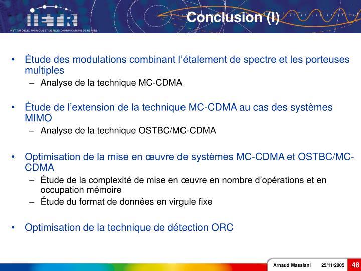 Conclusion (I)