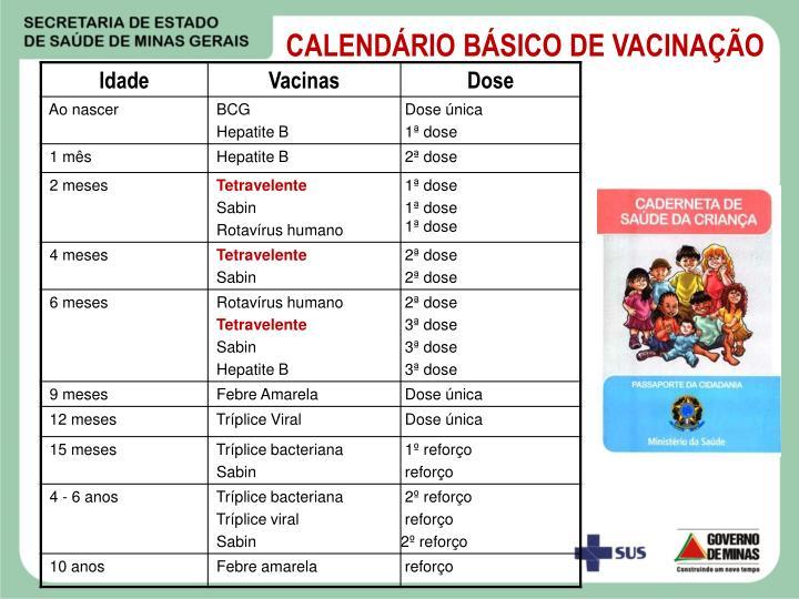 CALENDÁRIO BÁSICO DE VACINAÇÃO