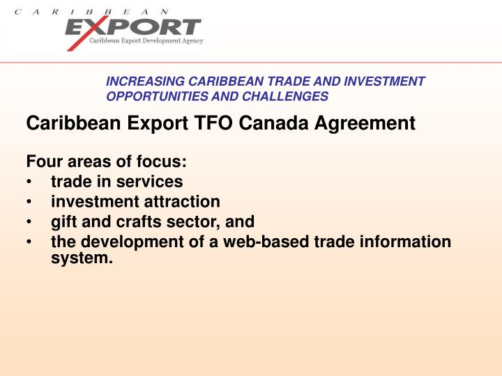 Caribbean Export TFO Canada Agreement
