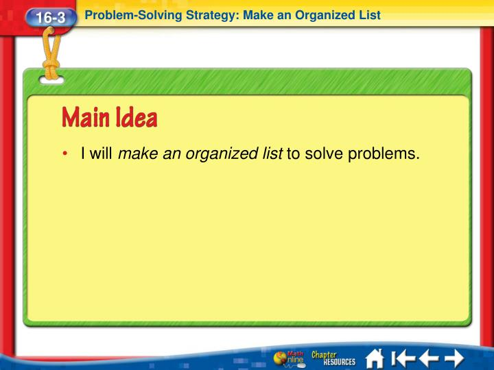 Problem-Solving Strategy: Make an Organized List