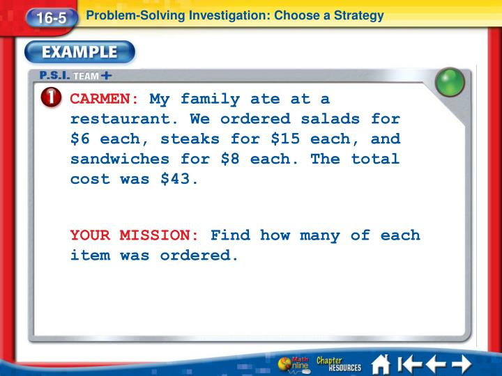 Problem-Solving Investigation: Choose a Strategy