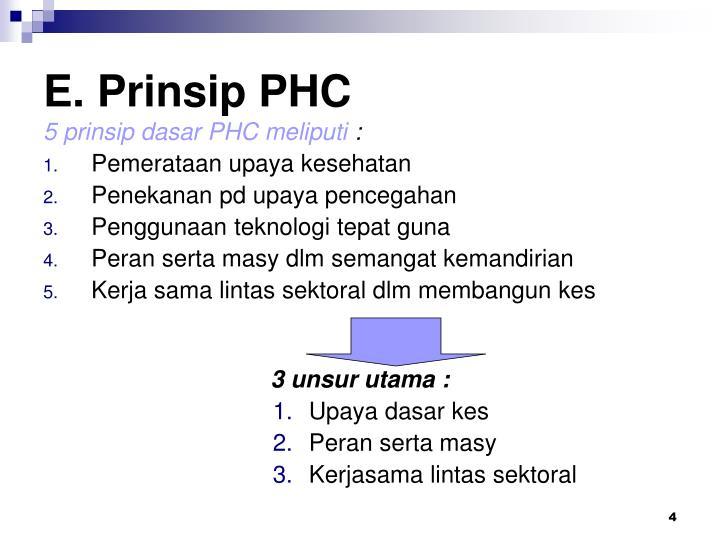 E. Prinsip PHC