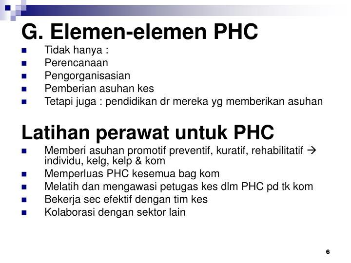 G. Elemen-elemen PHC