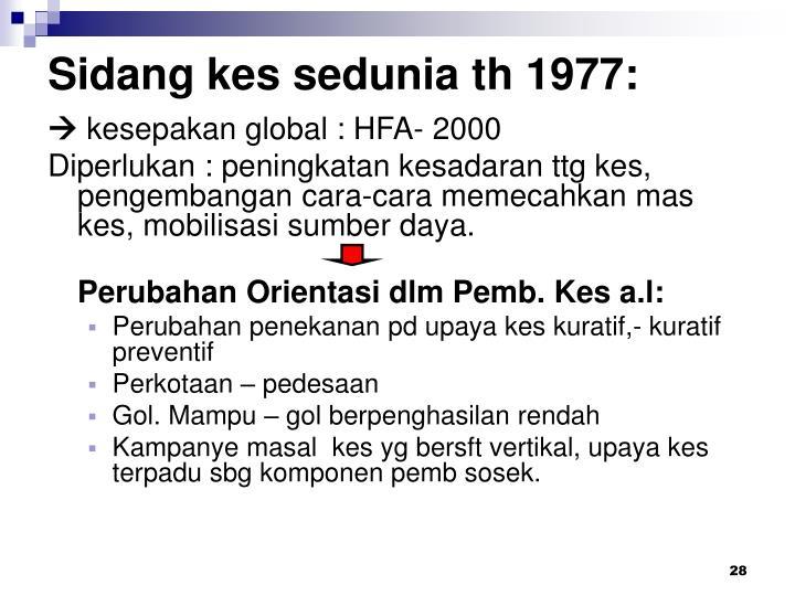 Sidang kes sedunia th 1977:
