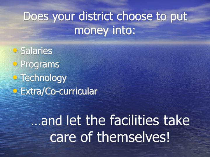 Does your district choose to put money into: