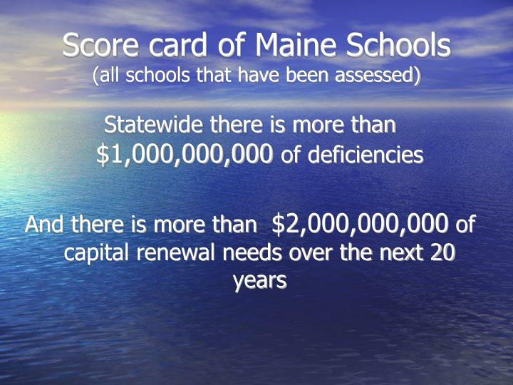 Score card of Maine Schools