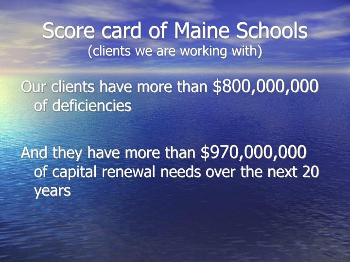 Score card of Maine Schools