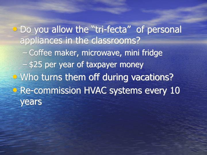 "Do you allow the ""tri-fecta""  of personal appliances in the classrooms?"