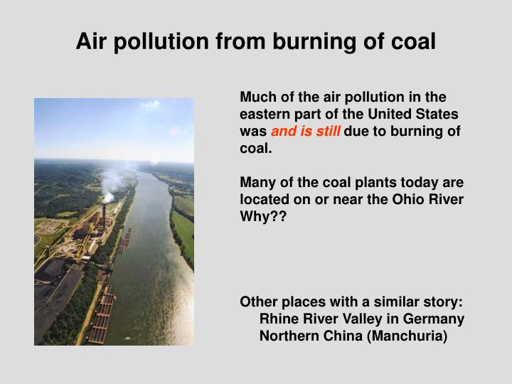 Air pollution from burning of coal