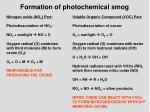 formation of photochemical smog