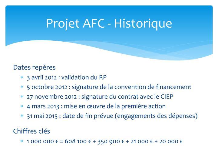 Projet AFC - Historique