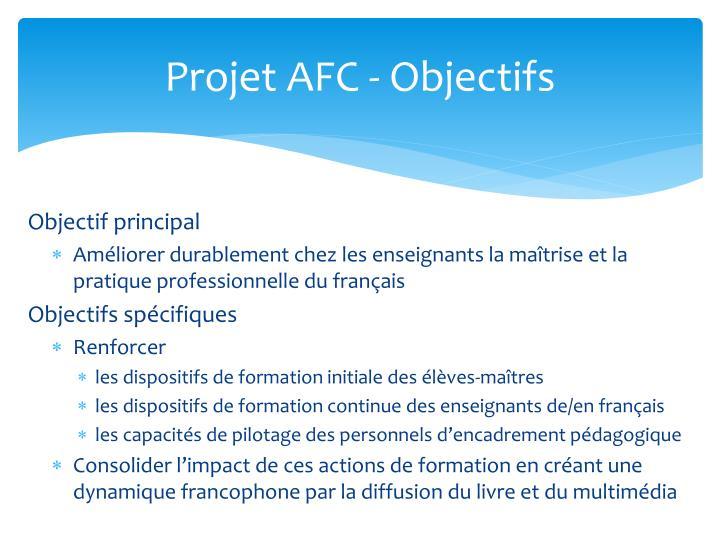 Projet AFC - Objectifs