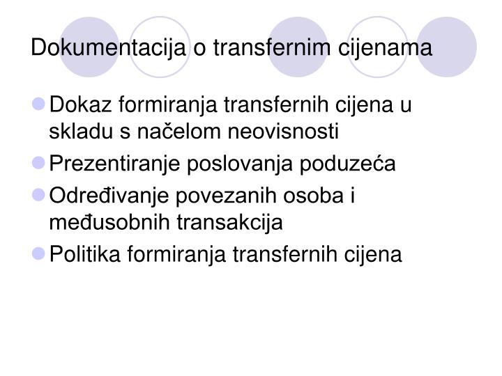 Dokumentacija o transfernim cijenama