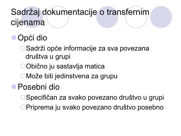 Sadržaj dokumentacije o transfernim cijenama