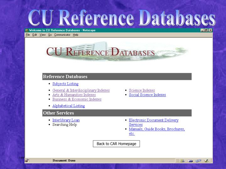 CU Reference Databases