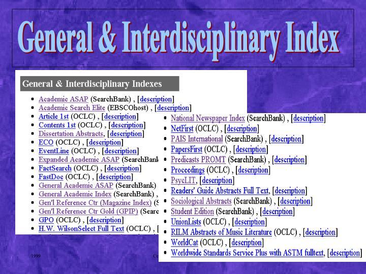 General & Interdisciplinary Index