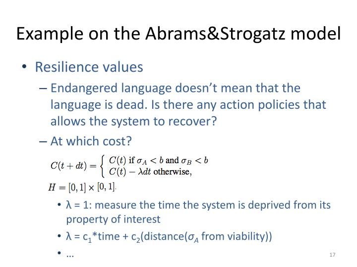 Example on the Abrams&Strogatz model