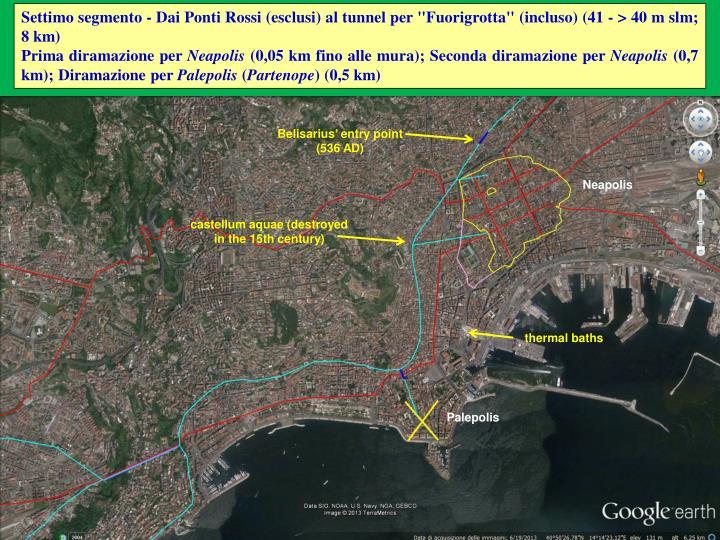 """Settimo segmento - Dai Ponti Rossi (esclusi) al tunnel per """"Fuorigrotta"""" (incluso) (41 - > 40 m slm; 8 km)"""