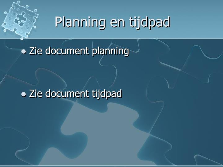 Planning en tijdpad