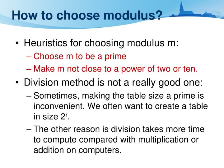 How to choose modulus?