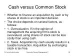 cash versus common stock