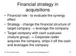 financial strategy in acquisitions
