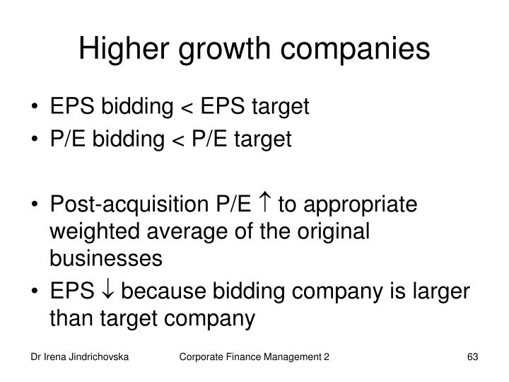 Higher growth companies