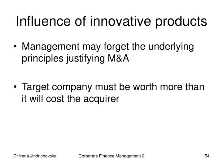 Influence of innovative products